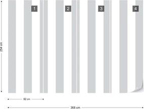 Fototapeta GLIX - Grey And White Stripes + lepidlo ZADARMO Papírová tapeta  - 368x254 cm