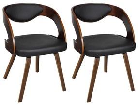 vidaXL Sada 2 hnedé jedálenské stoličky s dreveným rámom