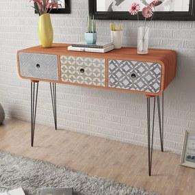 vidaXL Konzolový stolík s 3 zásuvkami, hnedý