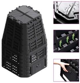 vidaXL Záhradný kompostér, čierny 93,3x93,3x146 cm, 1000 l