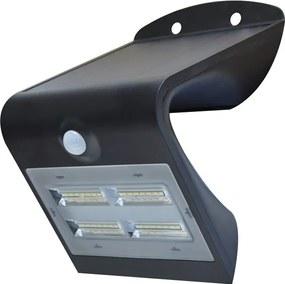 LEDKO Solárne nástenné svietidlo so senzorom LED/3,2W IP65 čierne LDK08427L