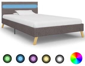 vidaXL Rám postele s LED svetlom svetlosivý 90x200 cm látkový