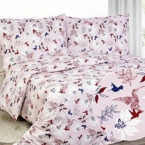 Goldea luxusné obliečky z bavlneného saténu - vzor 785 vtáky a kvety 240 x 200 a 2ks 70 x 90 cm