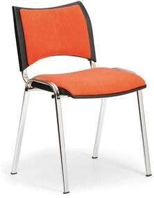 Konferenčná stolička SMART - chrómované nohy, bez podpierok rúk, oranžová