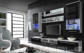 CAMA MEBLE Obývacia stena LUNA Farba: biela/čierna