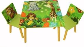 Homestyle4u Detský stôl se stoličkami Jungle