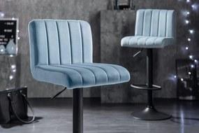 Dizajnová barová stolička Walnut, svetlomodrý zamat
