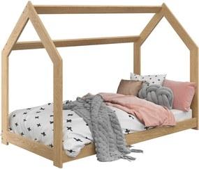 AMI nábytok Detská posteľ DOMČEK D2 80x160cm masív borovica