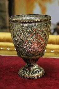 Zlatý rustikálny svietnik na podstavci  16cm