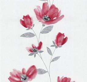 Vliesové tapety, kvety červené, Blues 1348830, P+S International, rozmer 10,05 m x 0,53 m