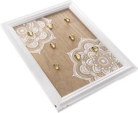 Drevený vešiak na kľúče Mandala, 8 háčikov, 25 x 35 x 3,5 cm