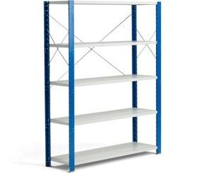 Policový kovový regál Mix, základná sekcia, 1740x1365x400 mm, modrá, šedá