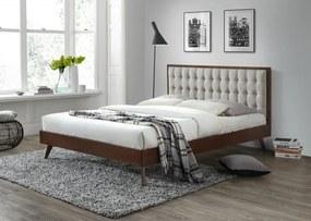 Halmar Dřevěná postel Solomo 160x200 dvoulůžko ořech/béžová
