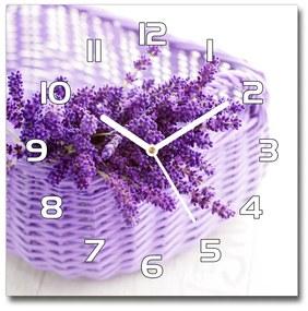 Sklenené hodiny štvorec Levanduľa v koši pl_zsk_30x30_f_79242619