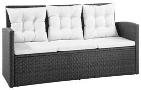 vidaXL 5-dielna záhradná sedacia súprava polyratan čierna krémovo biela