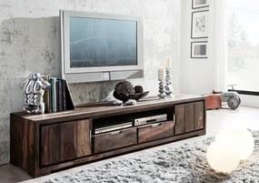 Masiv24 - PLAIN SHEESHAM TV stolík so skrinkami205x45 cm, palisander