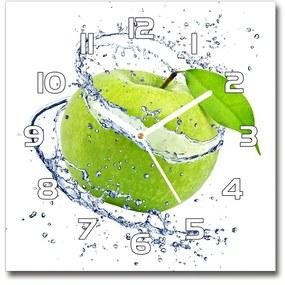 Sklenené hodiny štvorec Zelená jablko pl_zsk_30x30_f_42523876