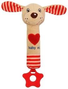 BABY MIX Nezaradené Detská pískacia plyšová hračka s hryzátkom Baby Mix psík červená Červená  