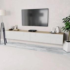 vidaXL TV stolíky, 2 ks, drevotrieska, 120x40x34 cm, vysoký lesk, bielo- dubové