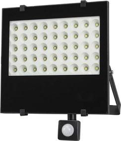 Solight Solight LED vonkajší reflektor, 50W, 4250lm, AC 230V, so senzorom, čierna