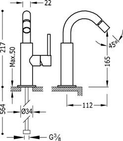 TRES - STUDY COLORS Bidetová jednopáková batéria (26222402TAMD)