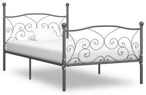 vidaXL Posteľný rám, sivý, kov 100x200 cm