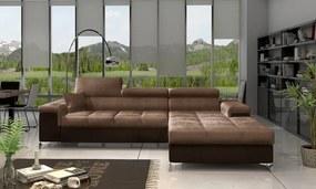 NABBI Rosino P rohová sedačka s rozkladom a úložným priestorom hnedá / tmavohnedá