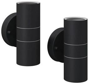vidaXL Vonkajšie nástenné LED svietidlá, 2 ks, nerezová oceľ, svietenie zhora/zdola