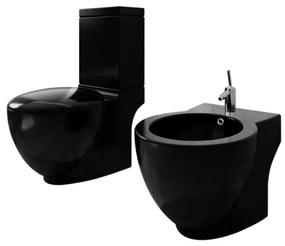 Čierna stojaca keramická toaleta a bidet