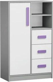 Komoda vysoká PIERE P05 siva / biela / fialová Tempo Kondela