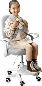 Rastúca stolička s podnožou a trakmi, sivá/biela, ANAIS