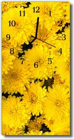 Sklenené hodiny vertikálne  Kvety žlté kvety