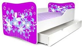MAXMAX Detská posteľ so zásuvkou KVETY FIALOVÉ + matrac ZADARMO