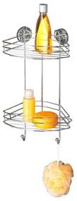 Samodržiaca rohová dvojposchodová polička Wenko Vacuum-Loc, nosnosť až 33 kg
