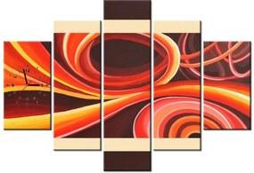 Tlačený obraz s hodinami Oranžový vír 150x105cm ZP3863A_5H