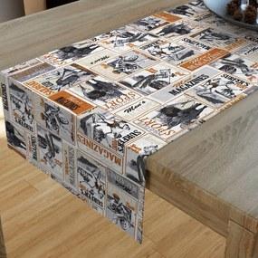 Goldea dekoračný behúň na stôl loneta - vzor retro športové noviny 20x120 cm