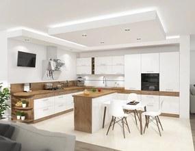 Rohová kuchyňa s ostrovčekom 375x340 cm, biela/dub lancelot VISION