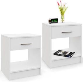- 2x nočný stolík so zásuvkou - biely