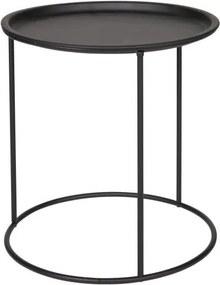 Čierny odkladací stolík WOOOD Ivar, Ø 40 cm