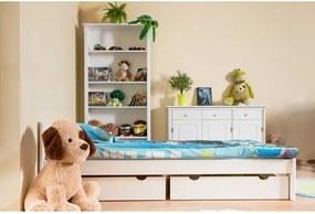Detská izba Korfu + posteľ Nemo 90 (90x200 cm) s úložných priestorom a roštom, borovica, masív, biela