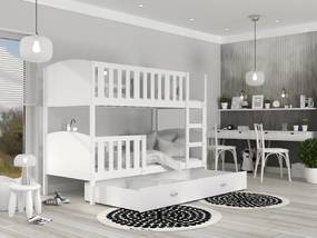 GL Dobby Biela Color MDF poschodová posteľ 190x80 Farba: Sivá
