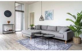 Dizajnová sedačka s otomanom Ansley svetlosivá - ľavá