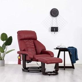 vidaXL Sklápacie masážne TV kreslo, vínovo červené, umelá koža