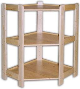 Rohový drevený regál 3 police, 890 x 600 x 335 mm