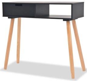 vidaXL Čierny prístavný stolík z borovicového dreva, 80x30x72 cm