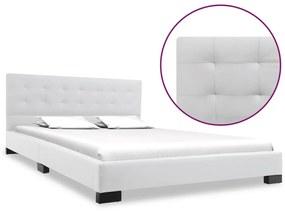 vidaXL Rám postele biely umelá koža 140x200 cm