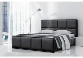 Čalúnená posteľ Esteban s vysokým čelom a úložným priestorom čierna eko koža 200 x 200