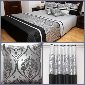 DomTextilu Čierno strieborný luxusný set s ornamentami 1 prehoz, 2 obliečky na vankúše a 1 záves Čierna 4619 Čierna
