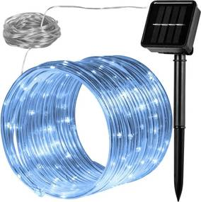 Solárna svetelná hadica - 100 LED studená biela VOLTRONIC