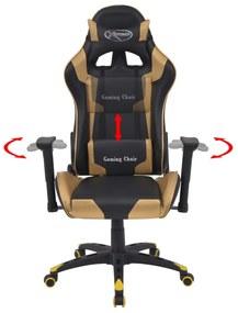 vidaXL Sklápacie kancelárske kreslo, pretekársky dizajn, umelá koža, zlaté